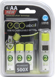 Pilot Automotive CA-9910PK4 USB AA Rechargeable Battery, 4 Pack (USBCell ECO)
