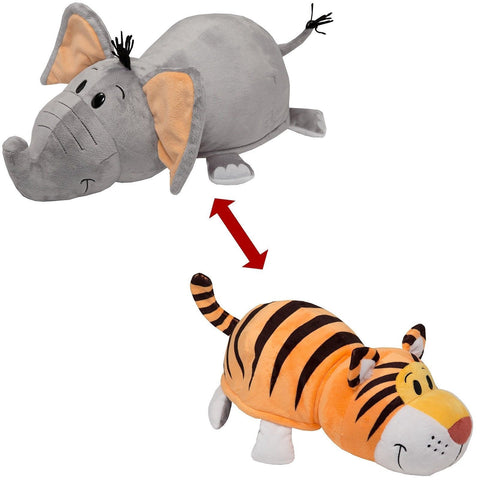 "Flip A Zoo ( ELEPHANT + TIGER )  2-in-1 Stuffed 16"" FLIPAZOO Pillow Huggable"