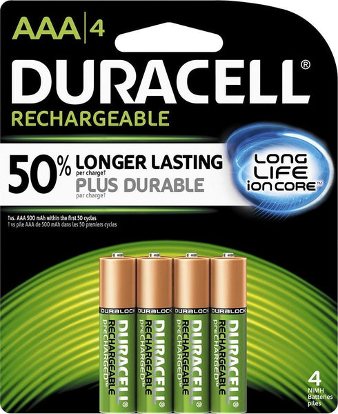 4/pack Duracell AAA Rechargeable Batteries AAA4 1.2V NiMH