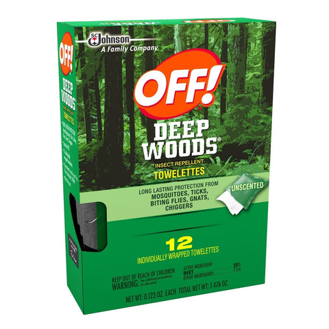 OFF! Insect Repellent Towelettes Deep Woods, .123 Oz (12 Wipes/Package)