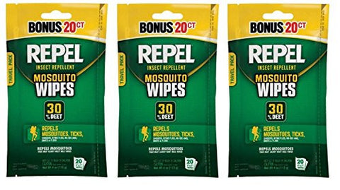 Repel 94100 Sportsmen 30-Percent Deet Mosquito Repellent Wipes, 3 Packs of 20 Count - 60 Total!