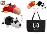 "FlipaZoo 16"" & Flipzee 5"" & FlipaTote COMBO ( Red Dragon / Panda ) Huggable Flip a Zoo Stuffed Animal is 2 Zoo Pets in 1"