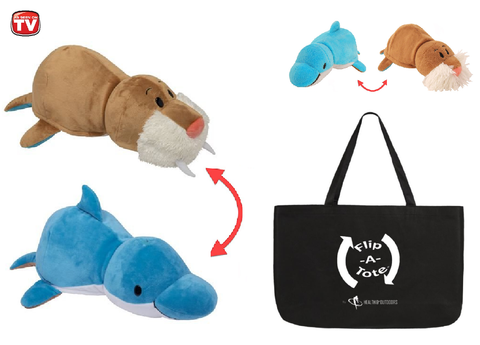 "FlipaZoo 16"" & Flipzee 5"" & FlipaTote COMBO (Dolphin / Walrus) Huggable Flip a Zoo Stuffed Animal is 2 Zoo Pets in 1"