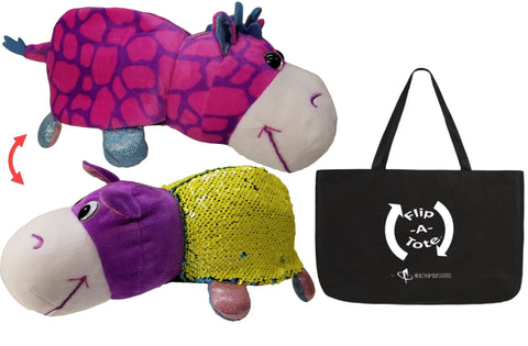 FlipQuin Flipazoo Plush Sequins Toy & Pillow in 1 ( Hetal Hippo / Janika Giraffe ) & Exclusive FlipaTote Combo
