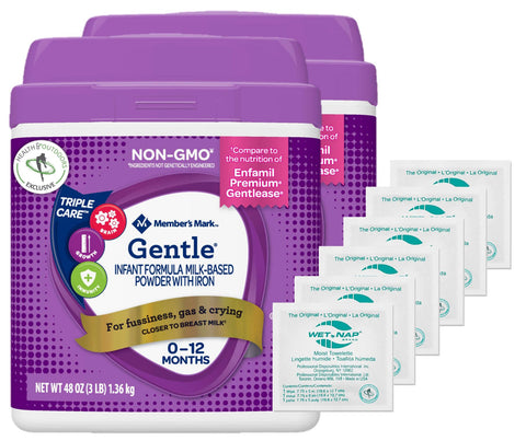 Member's Mark Premium Non-GMO Infant Formula, GENTLE (48 oz.) 2-PACK