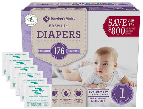 Member's Mark Premium Baby Diapers with HealthandOutdoors Moist Towelettes (Size 1 - 176 Count)