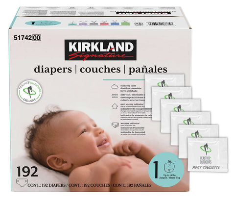 Kirkland Signature Diapers, Sizes 1-6 | Soft, Breathable Outer Cover, Absorbent, Plant-Based Materials with Bonus HealthandOutdoors Moist Towelettes