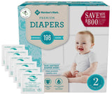 Member's Mark Premium Baby Diapers - Size 2 (12-18 lbs) 196 count W/ Moist Towelettes