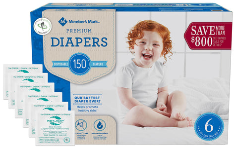 Member's Mark Premium Baby Diapers - Size 6 (35+ lbs) 150 count W/ Moist Towelettes