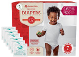 Member's Mark Premium Baby Diapers - Size 7 (41+ lbs) 132 count W/ Moist Towelettes