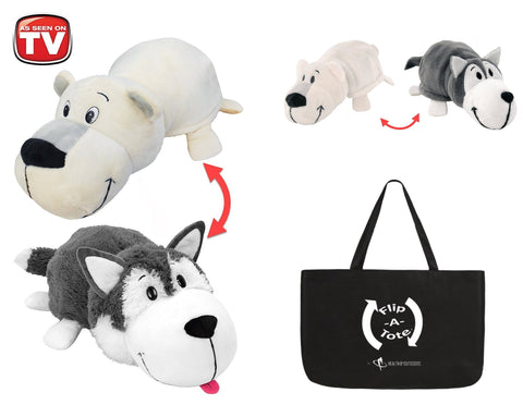 "FlipaZoo 16"" & Flipzee 5"" & FlipaTote COMBO (Polar Bear / Husky Dog) Huggable Flip a Zoo Stuffed Animal is 2 Zoo Pets in 1"