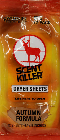 Wildlife Research Center Scent Killer Autumn Formula Dryer Sheets, 12-Count