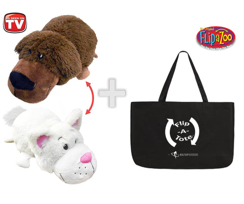 "FlipaZoo 16"" & FlipaTote COMBO ( BRADLEY LABRADOR  / RACHEL CAT ) Huggable Flip a Zoo Stuffed Animal is 2 Zoo Pets in 1"