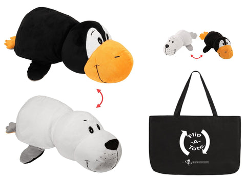 "FlipaZoo 16"" & Flipzee 5"" & FlipaTote COMBO (White Seal / Penguin) Huggable Flip a Zoo Stuffed Animal is 2 Zoo Pets in 1"