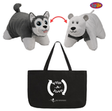 Flipazoo Flip 'N' Play Friends Plush Toy & Pillow in 1 ( Polar Bear / Husky ) & EXCLUSIVE FlipaTote COMBO