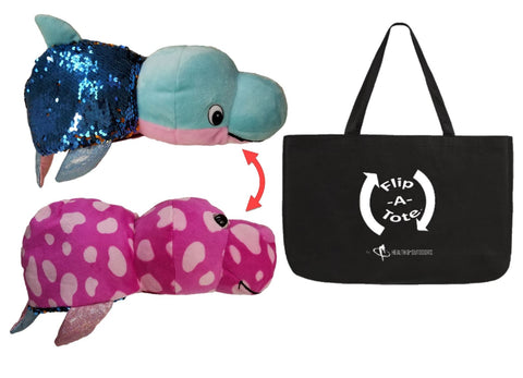 Flipazoo FlipQuin Plush Sequins Toy & Pillow in 1 ( Danika Dolphin / Blushes Seal ) & EXCLUSIVE FlipaTote COMBO