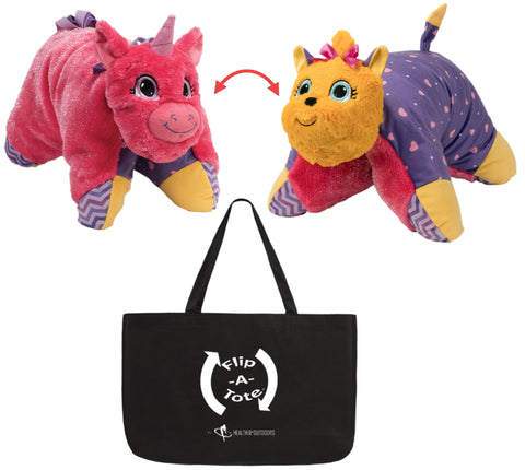 FlipaZoo Flip 'N' Play Friends Plush Toy & Pillow in 1 ( Unicorn / Yorkie ) & EXCLUSIVE FlipaTote COMBO
