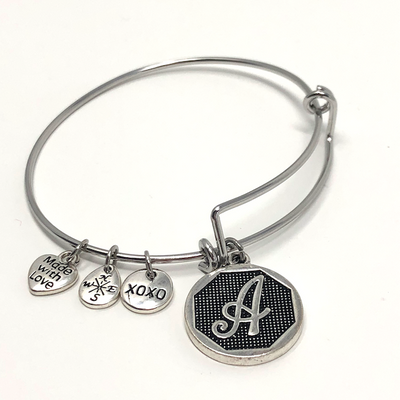 Popular Silver Initial Charm Bracelets - Choose Initial