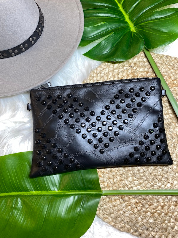 Sassy - Trendy Black Studded Clutch