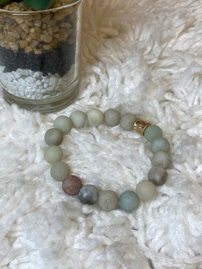 Kenzie - Natural Stone Matte Finish Beaded Stretch Stackable Bracelets - Choose Color