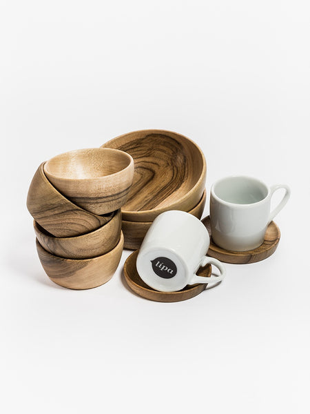 Espresso cup with wooden saucer, set of 2 pieces