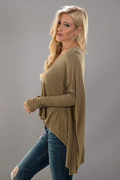 Amelia Dolman Top Olive Side