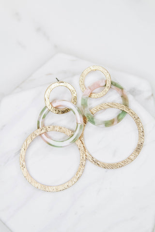 spring circle drop earrings