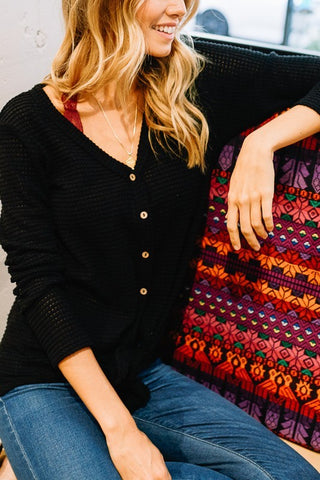 Waffle Knit Long Sleeved Top