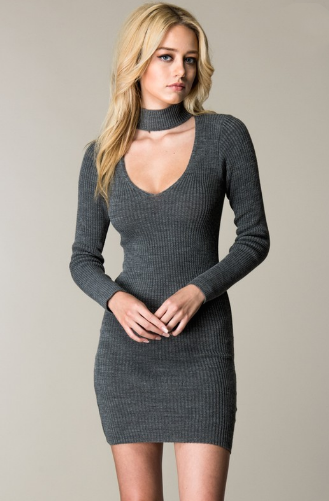Choker Neck Sweater Dress