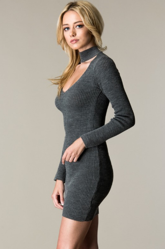 Choker Neck Sweater Dress Side