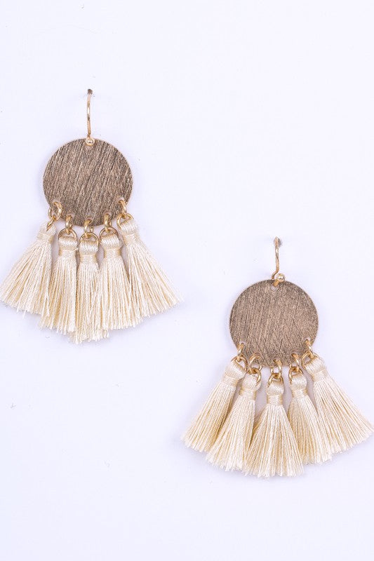 Beige Tassel Fringe Earrings