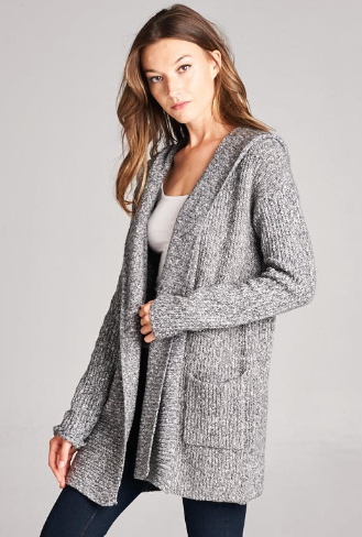Emily Hooded Cardigan Grey