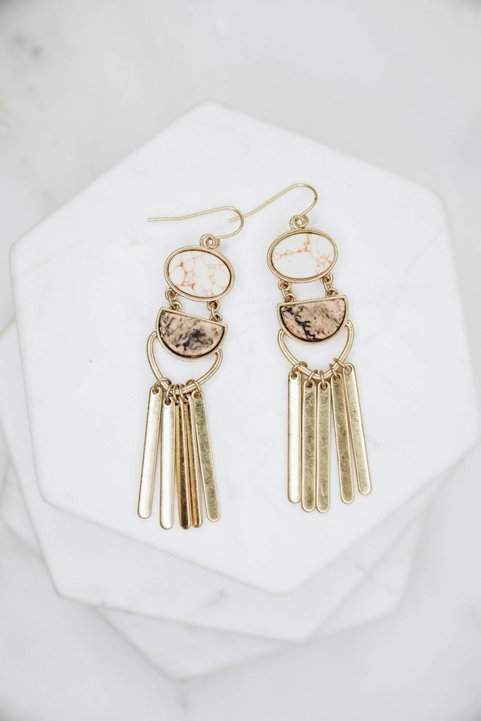Gold marble tassel earrings