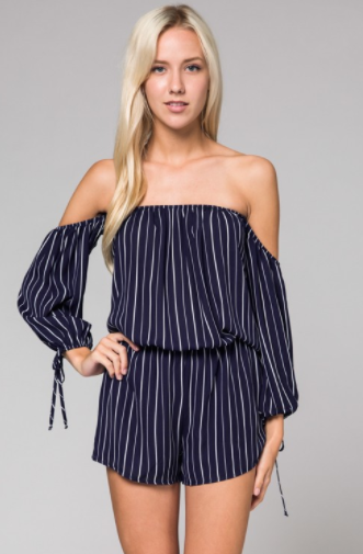 Honey Punch Off Shoulder Romper