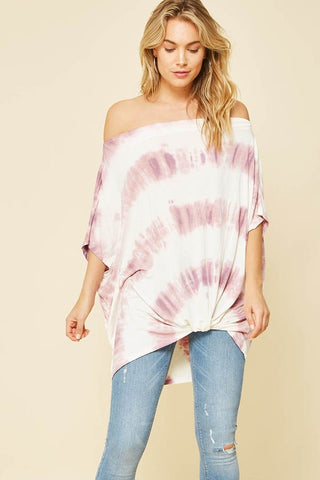 Promesa Pink Tie Dye Knotted Top