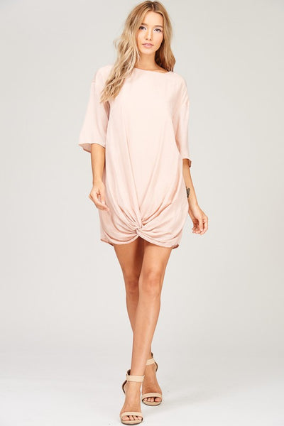 Blush Tone Front Knot Dress