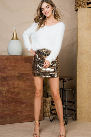 Gold and black sequin skirt
