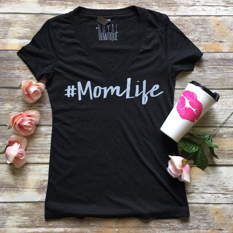 #Momlife fitted vneck tee