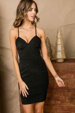 Black Bodycon Glitter Dress