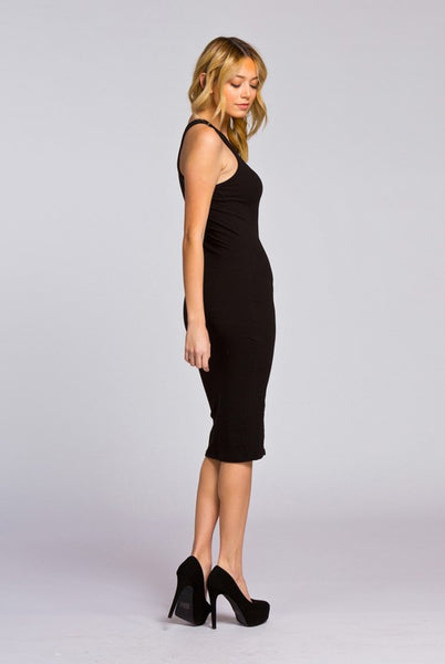Cherish Black Midi Dress
