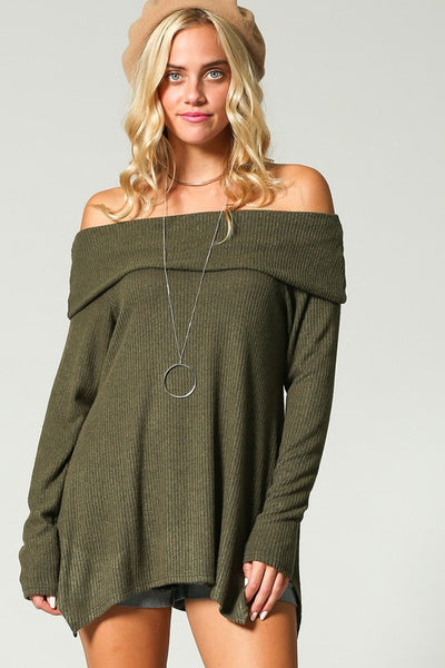 Pretty Cozy Off Shoulder Top