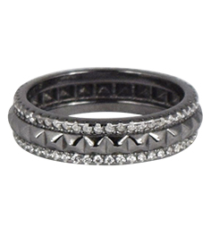 Shashi Rocker Pave Black Gold Ring