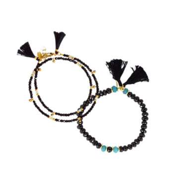 Shashi crystal bracelet set black
