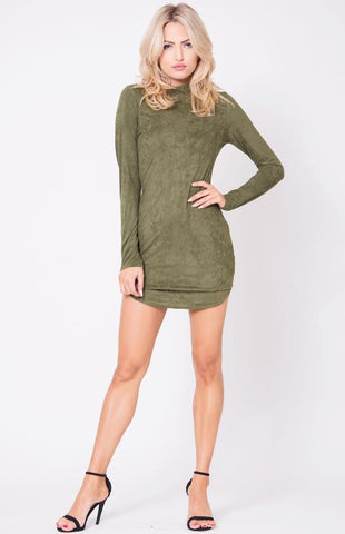 Long Sleeve Olive Suede Dress