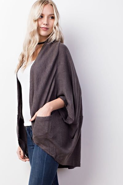 Grey Cocoon Cardigan