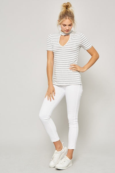 Promesa Striped Keyhole Top