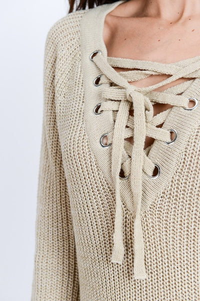 Taupe Lace Up Sweater