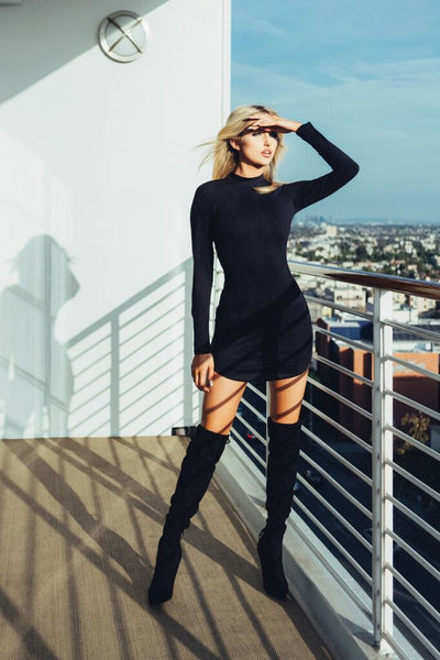 Suede Long Sleeve Dress
