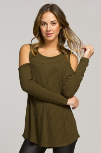 Cold Shoulder Top Olive