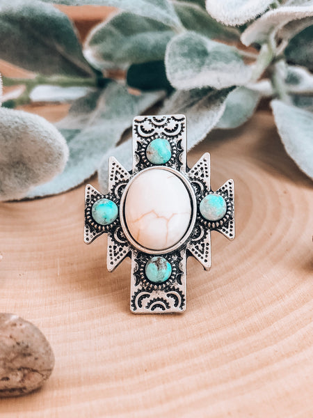 Boho Turquoise Cross RIng